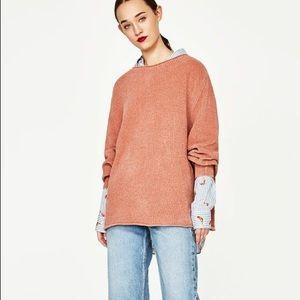NWT Zara Peach Pink Chenille Oversized Sweater